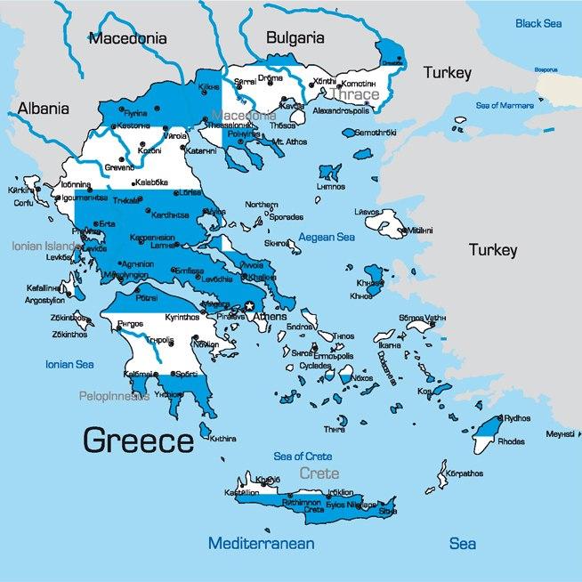 ŘeckoZájezdy.cz - mapa Řecka a řeckých ostrovů